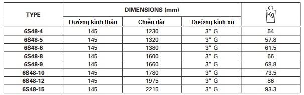 Bơm chìm giếng khoan Pentax 6inch 6S48-5 10HP-7.5kW